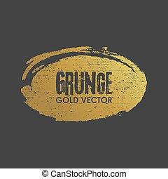Grunge golden ellipse shape vector illustration