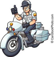 Motorcycle cop - Cartoon motorcycle cop. Vector clip art...