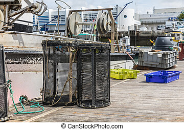 Shrimp creels on the pontoon of Les Sables d'Olonne harbor