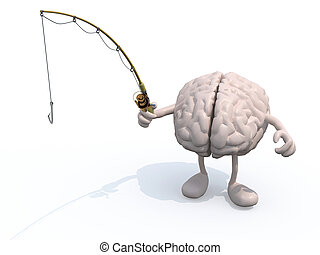 human brain with arms and legs and fishing pole on hand, 3d...