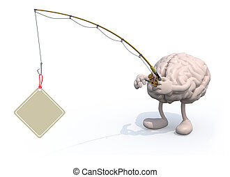human brain with arms and legs and fishing pole on hand -...