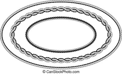 Twisted rope frame of oval shape - elliptic border
