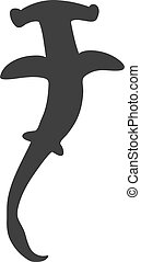 Black silhouette of hammerhead shark isolated on white background