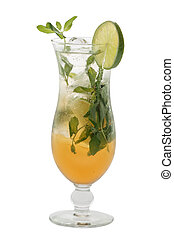 Cold Mojito cocktail isolated on white background in hurricane glass