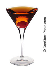 Rob Roy cocktail isolated on white background in martini glass