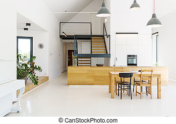 Open kitchen in modern house - Spacious open kitchen with a...