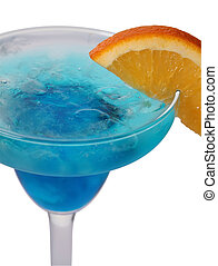 Blue lagoon cocktail isolated on white background in margarita glass