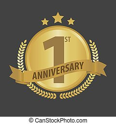 First 1 year anniversary golden badge and ribbon vector illustration