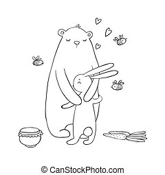 Lovely cartoon bear and hare. A pot of honey, carrots and bees. Happy animals. Isolated objects on white background.