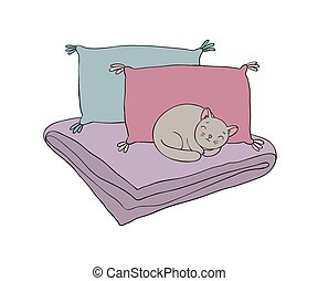 Beautiful pillows and cat on a white background. Simple...
