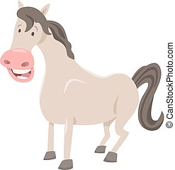 funny horse farm animal - Cartoon Illustration of Funny...