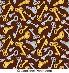 Seamless key pattern - Illustration of seamless pattern with...