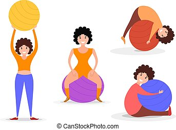 Set of flat image style girl sport with fitness ball. Color girl figurines with a fitball on a white background. Vector illustration