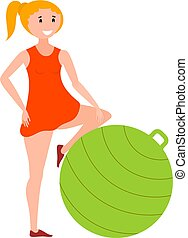 Flat style girl athlete with green fitness ball. Color image of training young girl with fitball on white background. Vector illustration