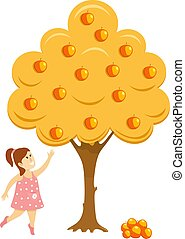 Girl near the apple tree. Abstract illustration of a little girl in a dress picking apples near an apple tree. Vector illustration