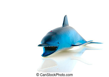 Shark fish in blue isolated over white