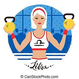 Vector illustration of Libra zodiac sign. Young woman at the...