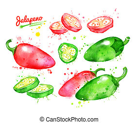 Watercolor collection of jalapeno pepper - Watercolor...