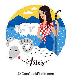 Vector illustration of Aries zodiac sign. Young woman with...
