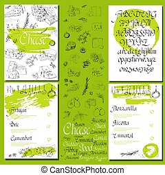 Vector illustrated Set Cheese Menu. Illustrative sorts of...