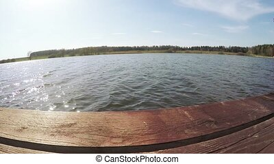 Wooden platform on the lake - Dynamic panorama on the edge...