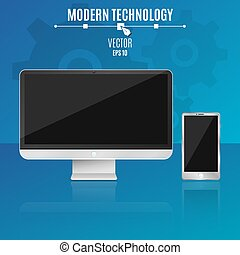 Modern computer and phone on a blue background. Empty, black screen of the monitor. Hi-tech. Vector illustration