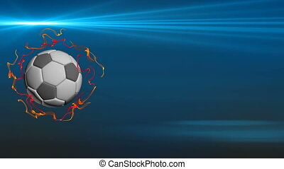 Rotating soccer ball on a black background, video loop, -...