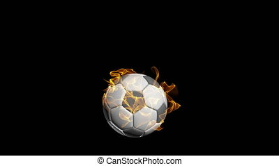 Rotating soccer ball on a black background, video loop, with...