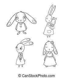 A set of cute cartoon bunny girls. Beautiful rabbits in dresses. Little hares. isolated objects on white background.