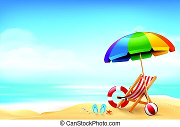 The chair ball starfish and life ring on the beach over blur blue sky background  for summer vacation concept vector illustration