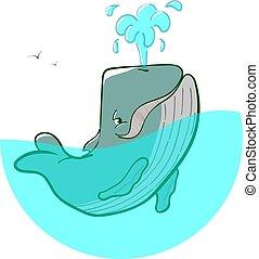Logo blue whale fountains - Vector logo blue whale fountains