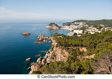 Spanish east coast with rocks and rough sea
