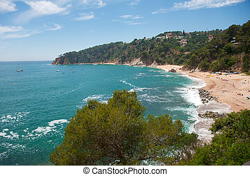 Spanish east coast with nature beach and rough sea