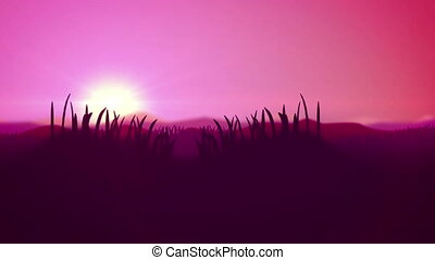 """Silhouette of Grass Flowers fields and hills"""