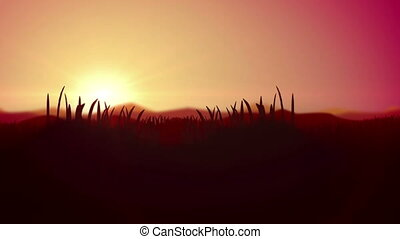 """Cartoon Dawn animation with Silhouette of Grass """
