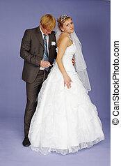Wedding re-enactment - The Wedding re-enactment on a blue...