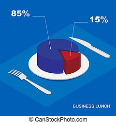 Isometric 3d pie chart on plate - business lunch