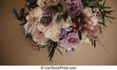 Beautiful elegant bouquet lying on the table. Fresh flower...