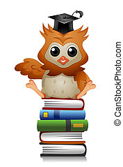 Owl Books - A Cute Owl Sitting on a Pile of Books