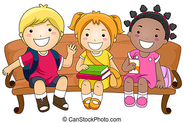 Kids Sitting on a Bench - Illustration Featuring Three Cute...