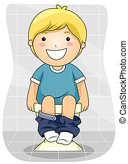 Kid Bowel Movement - A Young Boy Emptying His Bowels