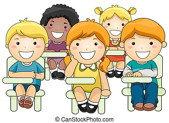 Kids Attending Class - Illustration of a Small Group of...