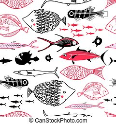 Vector graphics of a sea pattern with different fishes