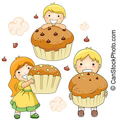 Kids and Cupcakes - Illustration of Kids and Giant Cupcakes