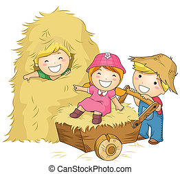 Kids at the Farm - Illustration of Kids Playing with...