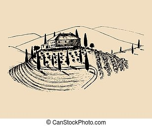 Sketch of villa, peasants house in fields. Vector rural landscape illustration. Hand drawn mediterranean homestead.