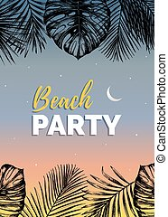 Vector vintage beach party illustration. Exotic palm leaves background. Hand sketched jungle foliage poster.
