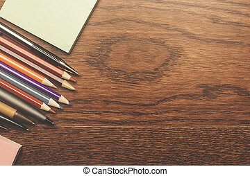 Wooden surface with supplies - Top view of wooden surface...