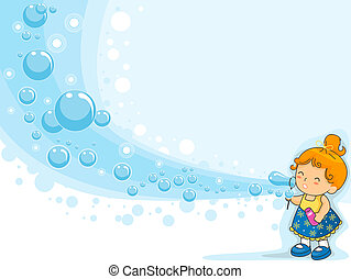Kid Blowing Bubbles - Colorful Background Featuring a Cute...