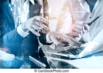 Success concept - People using laptop with abstract business...